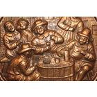 """Декоративное, настенное панно """"В пивной"""", диаметр 31 см., медь, Германия."""