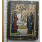 Небольшая старинная икона, не частое письмо, кипарис, позолота, 13 на 10.5 см., 19 век