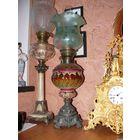 Лампа керосиновая 19 век. Майолика.