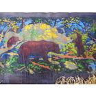 Прикроватный коврик СССР с медведем и бахрамой