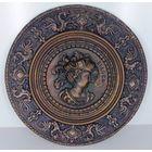 Старинная медная декоративная тарелка-панно