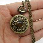 """Часы на цепочке, ретро ожерелье """"кошачий глаз"""", с зеркалом. под бронзу. распродажа"""