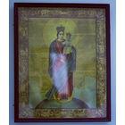 Икона католическая (литография) в красивом киоте 19 в.