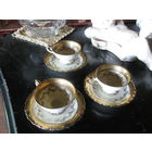 Сервиз из 3 пар золото Бавария чашка тарелка кофе