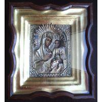 Икона Матерь Божья (Тихвинская) в окладе и киоте