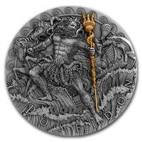 "RARE Ниуэ 2 доллара 2018г. ""Посейдон"". Монета в капсуле; деревянном подарочном футляре; сертификат; коробка. СЕРЕБРО 62,27гр.(2 oz)."