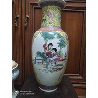 Старинная фарфоровая ваза. Ручная роспись. Клеймо.