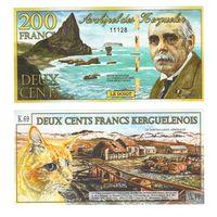Банкнота о-ва Кергелен 200 франков 02 января 2012 UNC ПРЕСС полимерная коллекционная