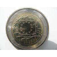 Португалия 2 евро 2015 г. 30 лет флагу Европейского союза. (юбилейная) UNC!