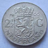 Нидерланды 2,5 гульдена 1966 - серебро