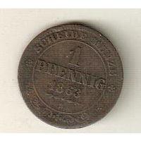 Саксония 1 пфенниг 1863
