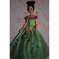 """Продам новое ПЛАТЬЕ для куклы Барби: """"Изумрудная КОРОЛЕВА"""" - машинный самошив, сидит весьма аккуратно. Сама кукла, как и её головной убор в стоимость не входят. Пересыл по почте платный!"""