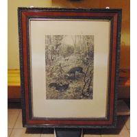 Отличная большая,полиграфическая картина 1899 года, в охотничий домик.