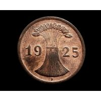 """2 РЕЙХСПФЕННИНГА, 1925 г. Отметка монетного двора """"F""""- Штутгарт, AU-UNC ДОМАШНИЙ СОХРАН, КРАСИВАЯ ПАТИНА."""