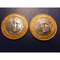 Бразилия 1 реал 2008 г.-цена за монету
