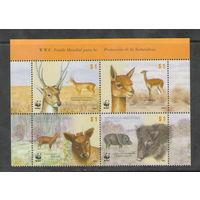 Аргентина WWF Лесная фауна 2002 года чистая полная серия из 4-х марок в верхней части листа