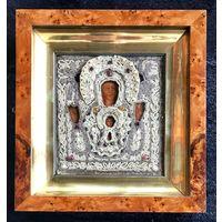 """Икона ВЕТКА.ШИТЬЕ. 19 ВЕК.Чудотворная икона Божьей Матери """"Знамение"""". Ветка.XIX век. Шитьё."""