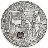 """Палау 5 долларов 2012г. """"Сокровища мира: Топаз"""". Монета в капсуле; сертификат. СЕРЕБРО 25гр."""