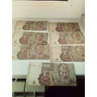 Румыния 500 лей 1991 (7 шт).