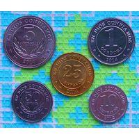 Набор монет Никарагуа 10, 25, 50 сентаво, 1 и 5 кордоб. UNC.