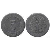 YS: Германия, Рейх, 5 пфеннигов 1874F, KM# 3 (1)