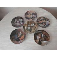 Тарелка коллекционная настенная фарфор Котята Германия - Швеция, 6 штук, диаметр 20.5 см.