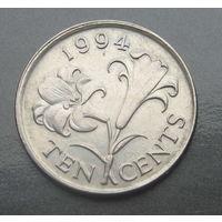 Бермудские острова 10 центов 1994г. Средний портрет.