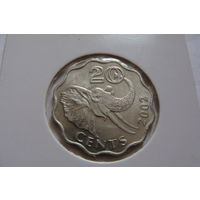Свазиленд. 20 центов 2002 год /Фауна /Слон/  КМ#50.2