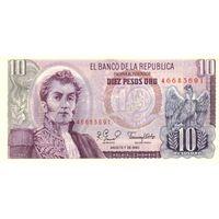 Колумбия 10 песо образца 1980 года UNC p407g