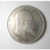 5 марок, Вюртемберг, Германия 1907 год.