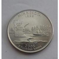 25 центов, квотер США, штат Миннесота, D