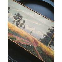 Картина 19 или нач. 20 в., Российская империя, масло/полотно, сигнатура автора, 22*58 см.