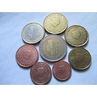 Полный ГОДОВОЙ набор евро монет Нидерланды 1999 г. (1, 2, 5, 10, 20, 50 евроцентов, 1, 2 евро)