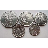 Сан-Томе и Принсипи. Набор из 5 монет 100, 250, 500, 1000, 2000 добр 1997 год