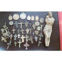 Лот старых крестиков и медальонов, с 10 копеек!