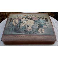 Большая Старинная Шкатулка-ящик для писем и документов, датированная 1861 годом, - дерево/литография.