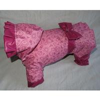 Дождевик с капюшоном и юбочкой для собак спинка 27см
