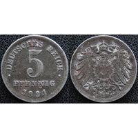 YS: Германия, 5 пфеннигов 1921F, KM# 19 (1)