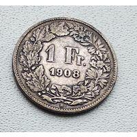 Швейцария 1 франк, 1908 2-5-27