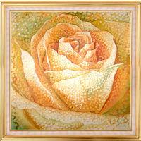Картина на шелке. Искристая роза. Батик.