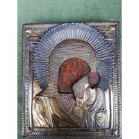 Икона Казанская Пресвятая Богородица. Оклад серебро 84.