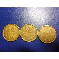 20 франков 1950, 1951, 1952 г. - цена за монету