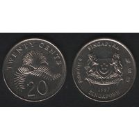 Сингапур km101 20 центов 1997 год (b06)