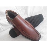 Мужские полуботинки кожаные с мехом