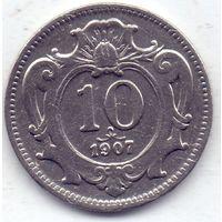 Австро-Венгрия, 10 геллеров 1907 года.