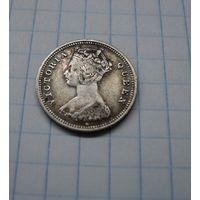 Гонконг 10 центов 1889 H, серебро