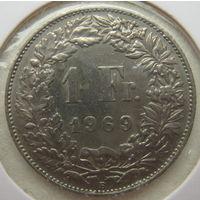Швейцария 1 франк 1969 г. В холдере