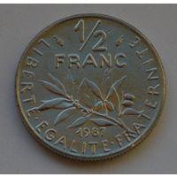 Франция, 1/2 франка 1987 г.