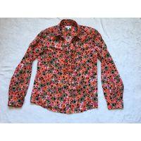 Блуза рубашка 46 марк 36 Хлопок в цветочки