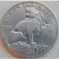 7. Бельгия, 50 сентим 1901 год, серебро